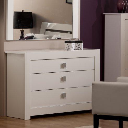 Bari White High Gloss Wide Chest, White High Gloss Bedroom Furniture Uk