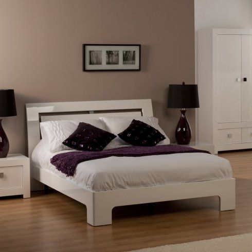Bari White High Gloss Single Bed Frame