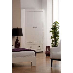 Bari White High Gloss Wardrobe