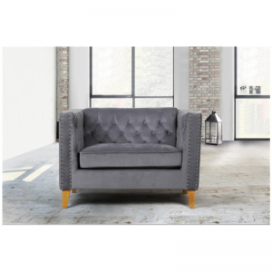 Florence Grey Velvet Snuggle Chair