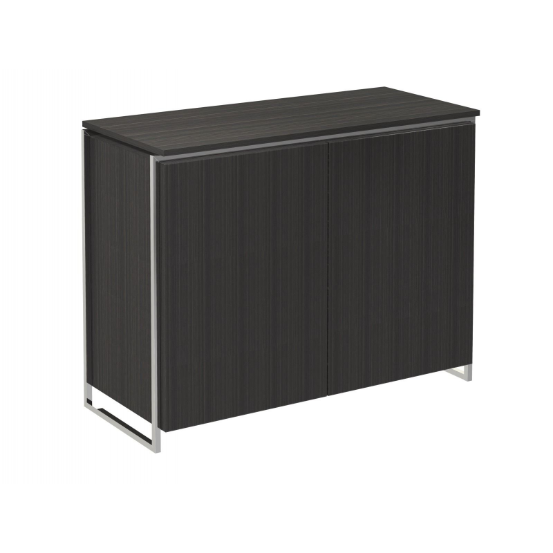 Federico Black Stained Oak 2 Door Sideboard (Frame Finish: Polished Chrome)