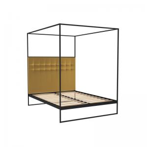 Federico Mustard Velvet Canopy Bed