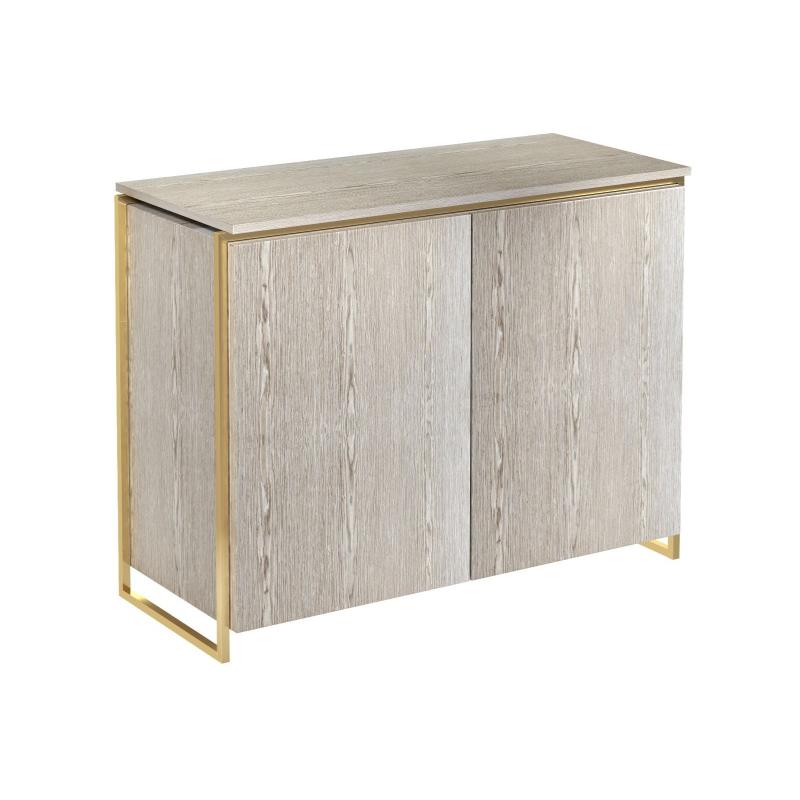 Federico Weathered Oak 2 Door Sideboard (Frame Finish: Brushed Brass)