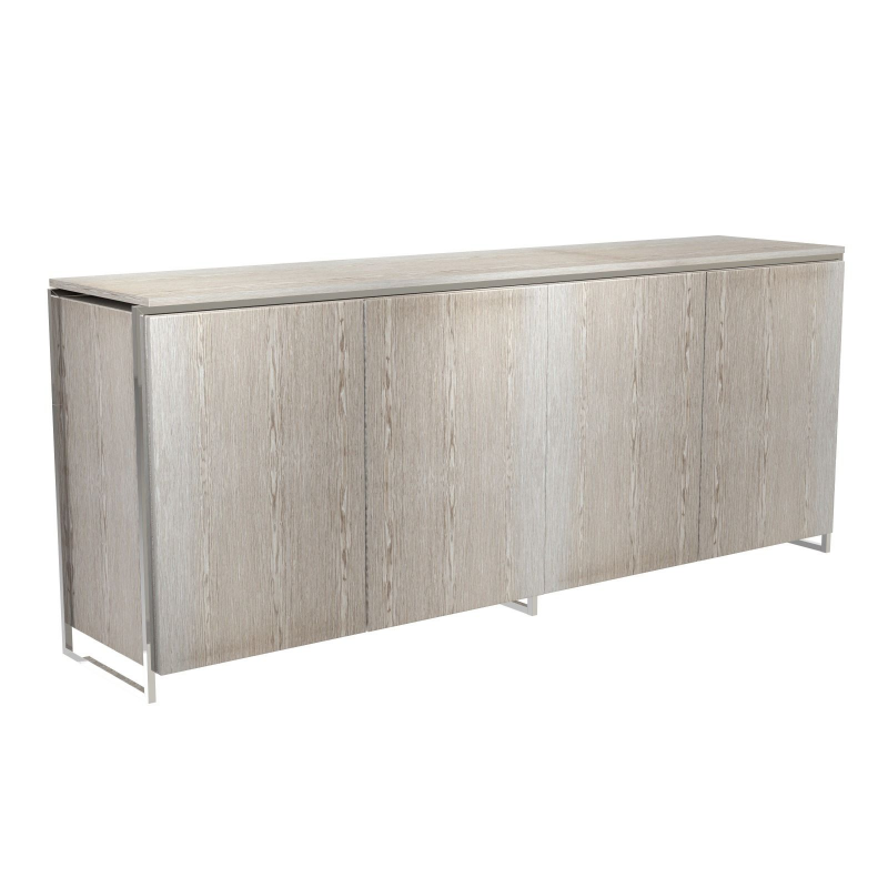 Federico Weathered Oak Sideboard - 4 Door (Frame Finish: Polished Chrome)