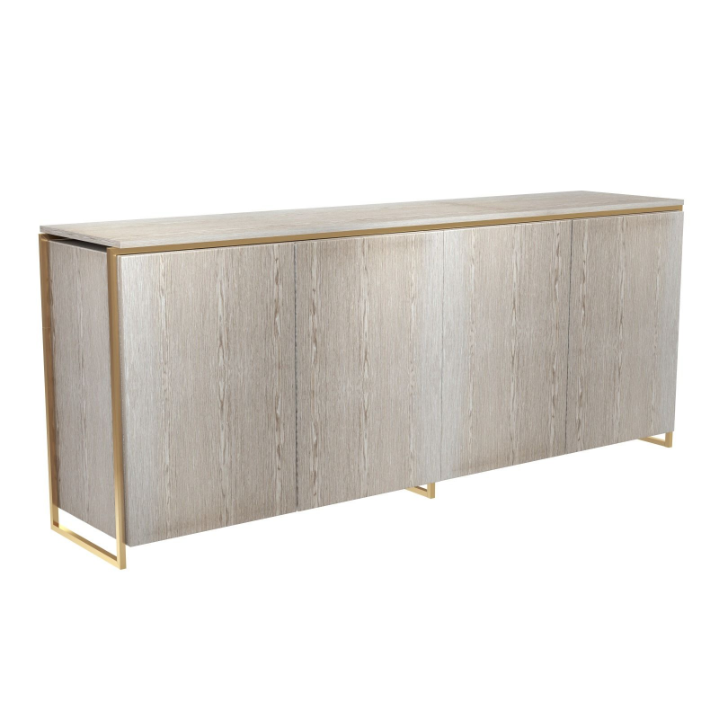 Federico Weathered Oak Sideboard - 4 Door (Frame Finish: Brushed Brass)
