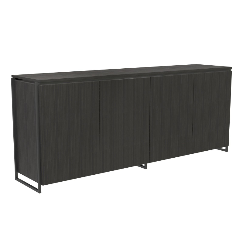 Federico Black Stained Oak Sideboard - 4 Door (Frame Finish: Matt Black)