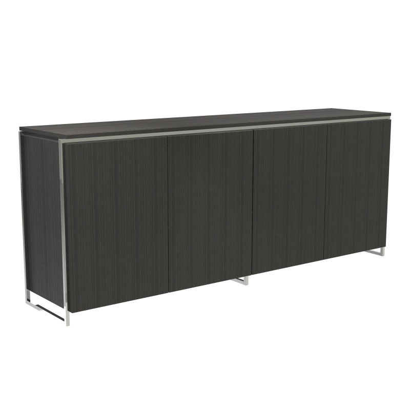 Federico Black Stained Oak Sideboard - 4 Door (Frame Finish: Polished Chrome)