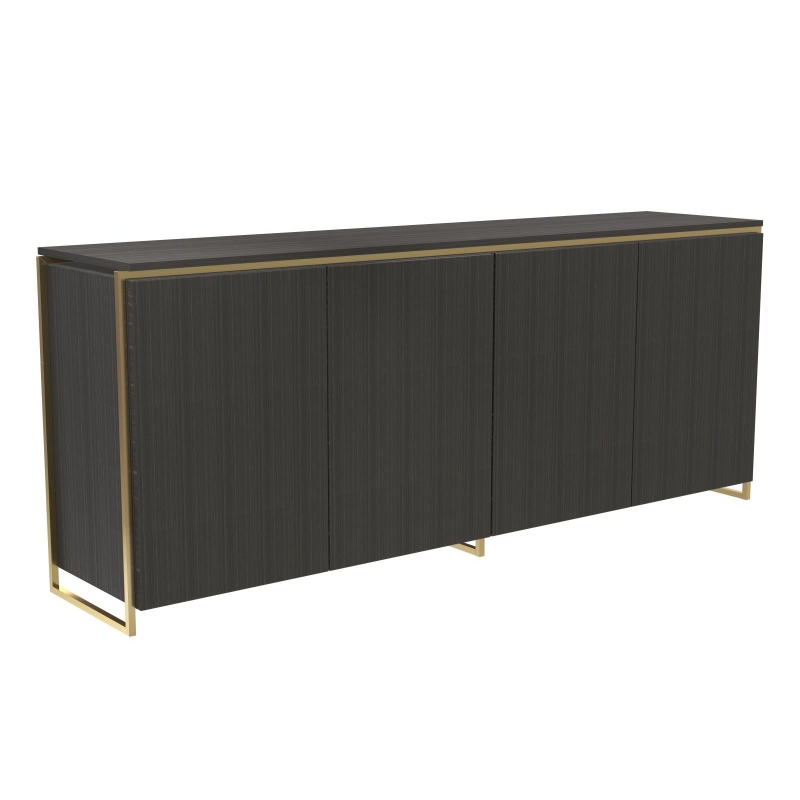 Federico Black Stained Oak Sideboard - 4 Door (Frame Finish: Brushed Brass)