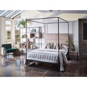 Federico Weathered Oak Canopy Double Bed