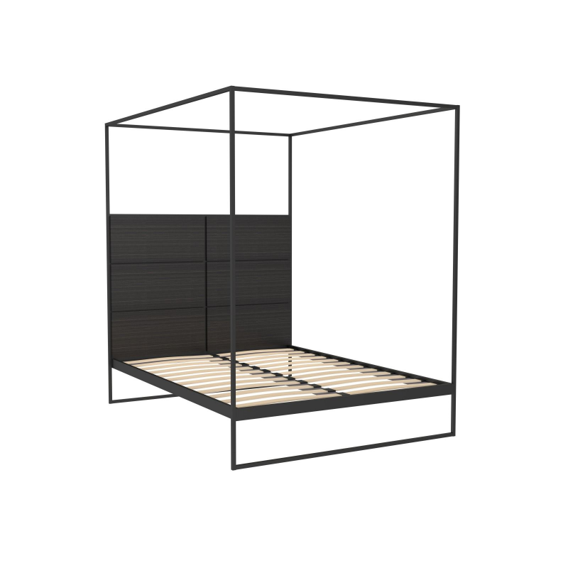 Federico Black Stained Oak Canopy Double Bed 3