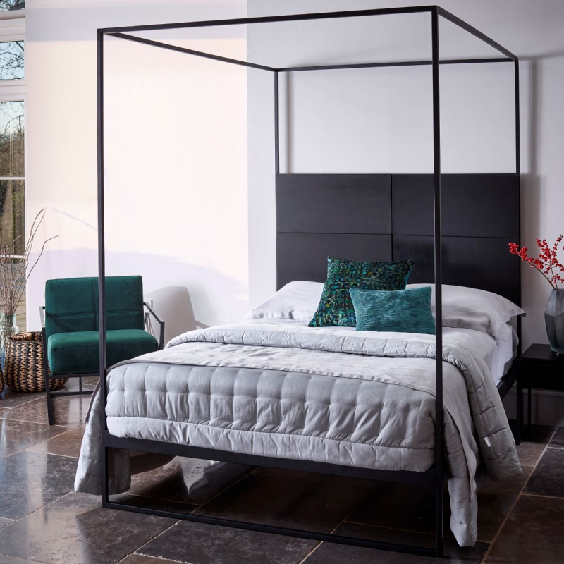 Federico Black Stained Oak Canopy Bed