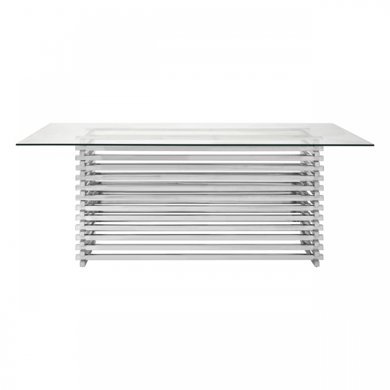 Vogue Silver Slatted Dining Table