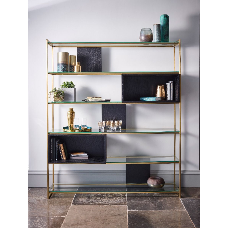 Federico Black Stained Oak High Bookcase 2