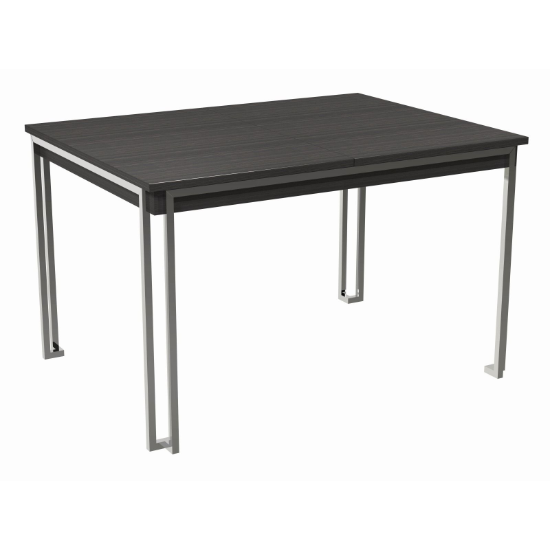 Federico Stained Black Oak Extending Dining Table (Frame Finish: Polished Chrome)