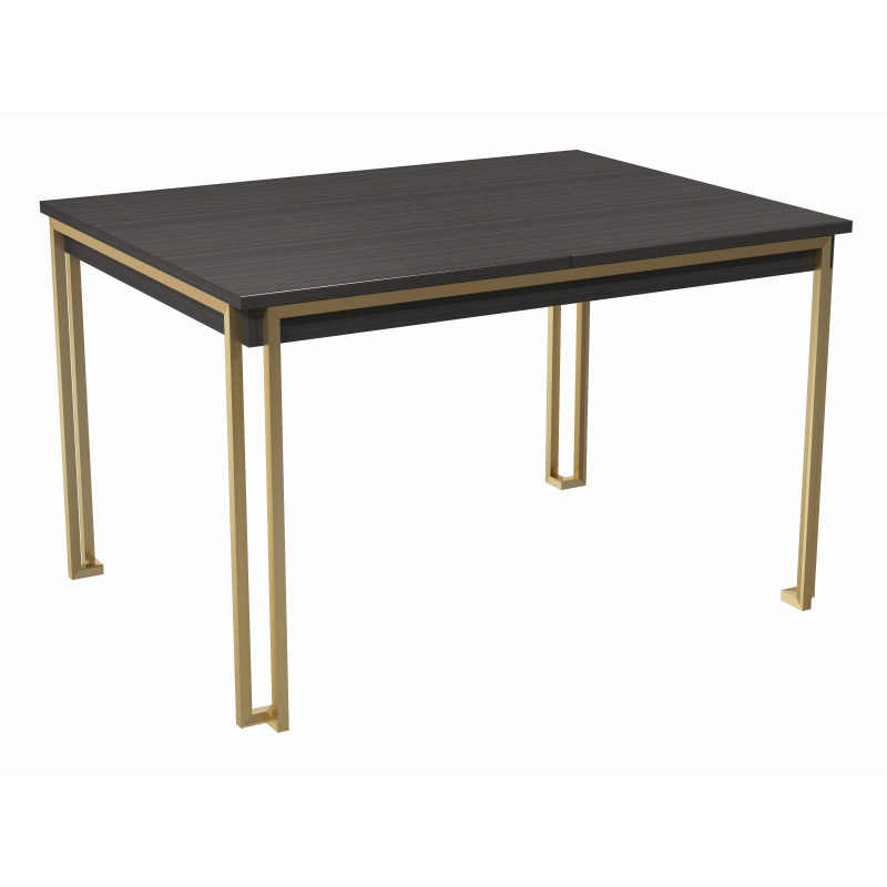 Federico Stained Black Oak Extending Dining Table (Frame Finish: Brushed Brass)