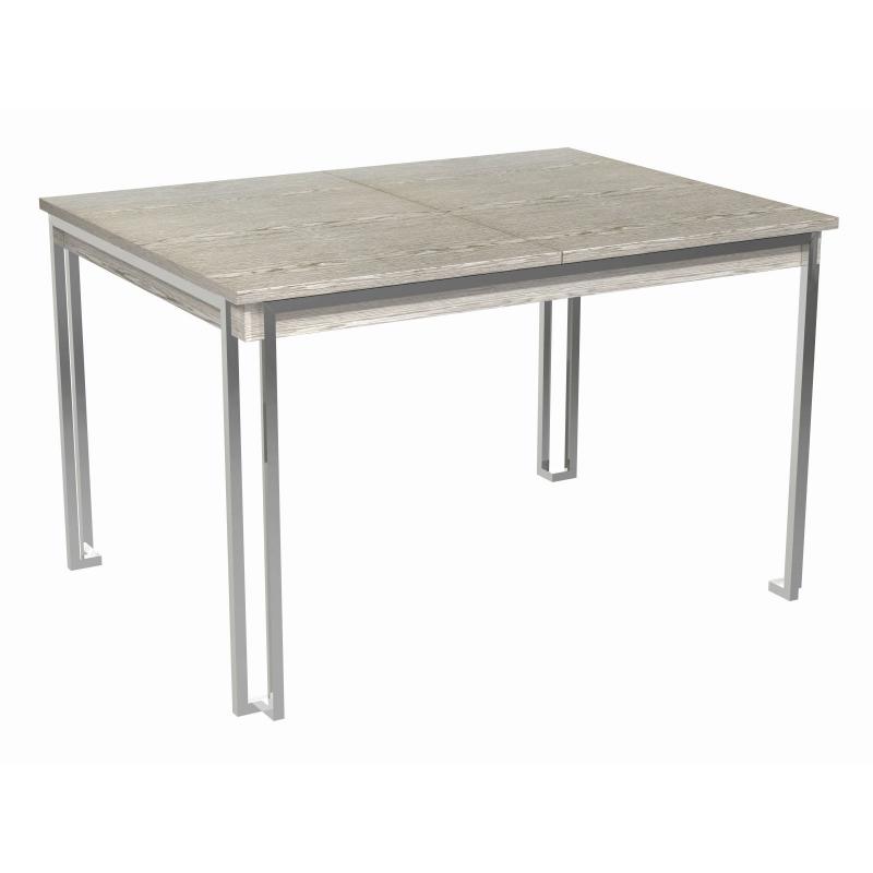 Federico Weathered Oak Extending Dining Table (Frame Finish: Polished Chrome)