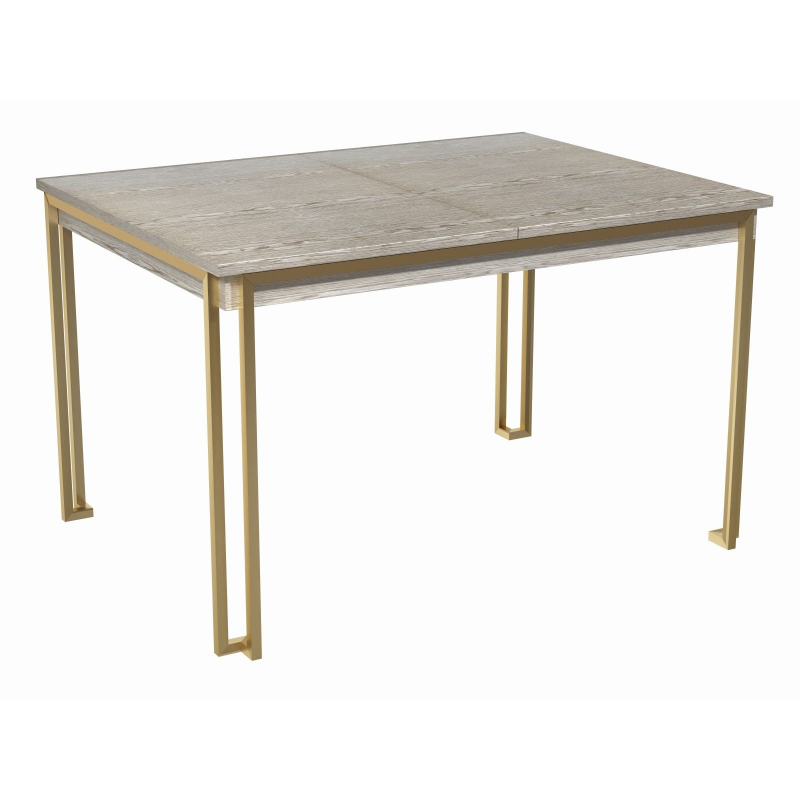 Federico Royal Weathered Oak Extending Dining Table (Frame Finish: Brushed Brass)