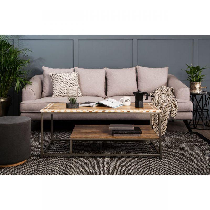 Mylo 3 Seater Natural Fabric Sofa 4