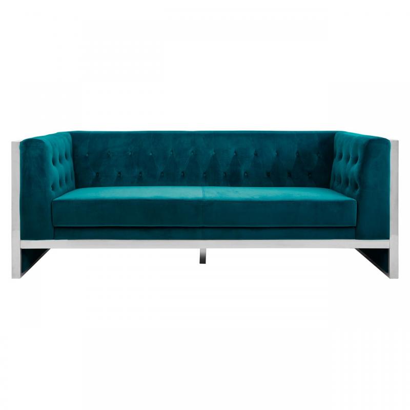 Vogue Teal Velvet 3 Seater Sofa