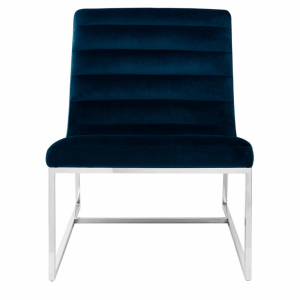 Vogue Velvet Midnight Blue Curved Cocktail Chair
