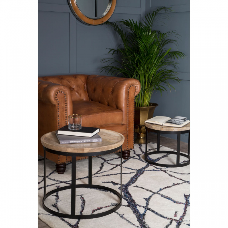 Boho Round Wooden Nest Of Tables