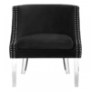 Clarence Studded Black Accent Chair
