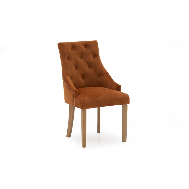 Hobbs Velvet Dining Chairs - (Various Colours Available) (Chair Colour: Velvet Pumpkin)