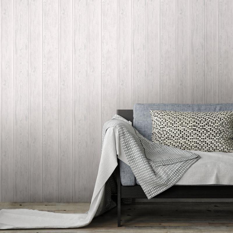 Lipsy Metallic White Wooden Wallpaper