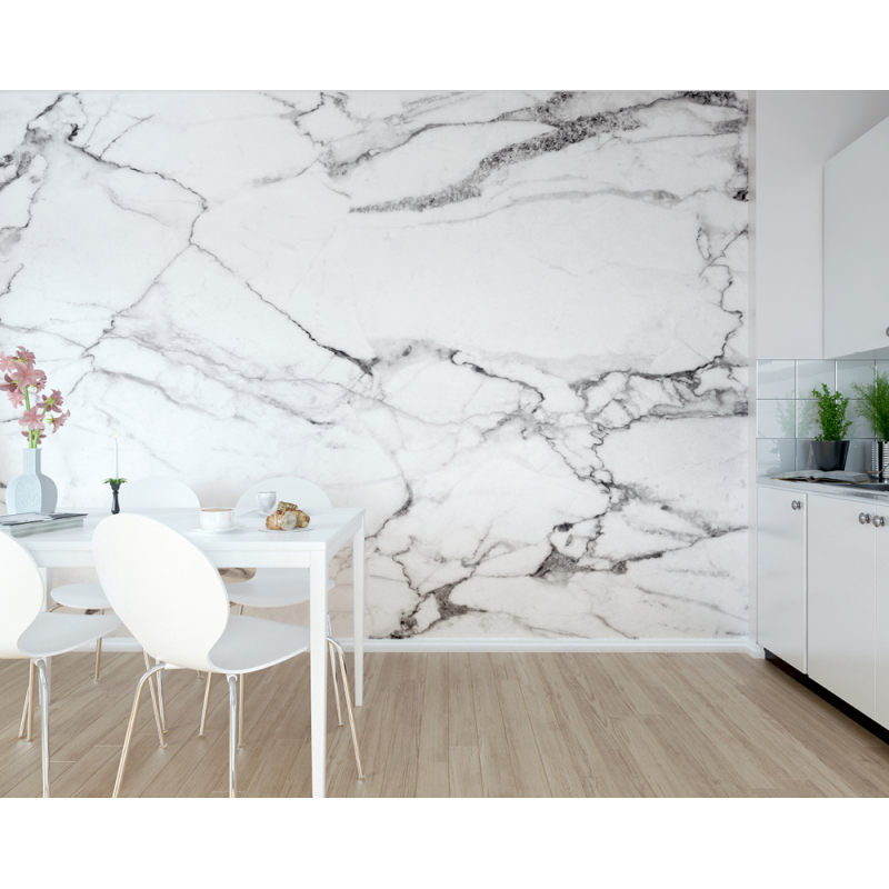Marble Effect Wall Mural (Size: L:3.0m (wide) x 2.4m (high))
