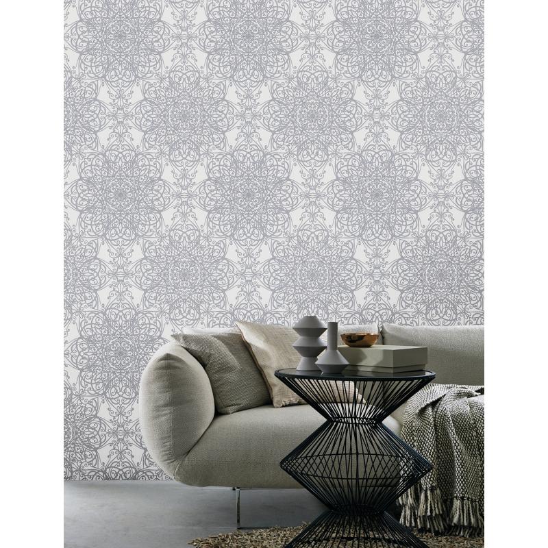 P&S Glitter Swirl Floral Wallpaper
