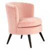 Round Pastel Pink Velvet Armchair 1