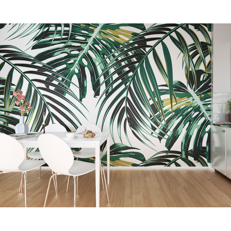 Tropical Leaves Wall Mural (Size: Large: 3.0 m (wide) x 2.4 m (high))