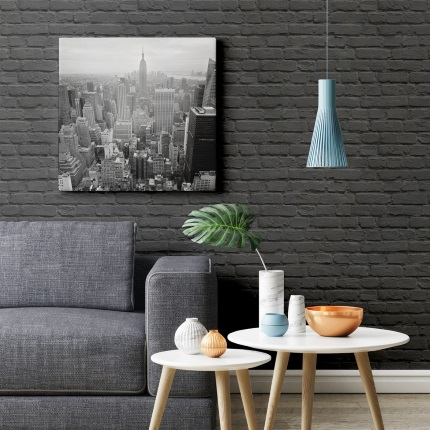 Freestyle Painted Black Brick Wallpaper