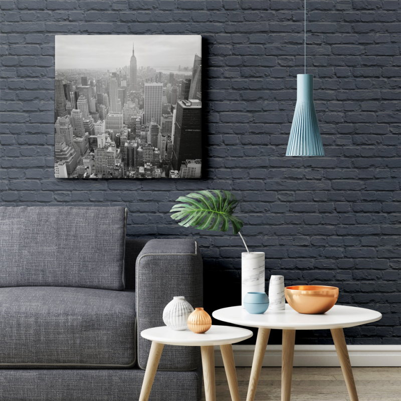 Freestyle Painted Blue Brick Wallpaper