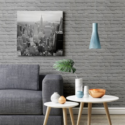 Freestyle Painted Grey Brick Wallpaper