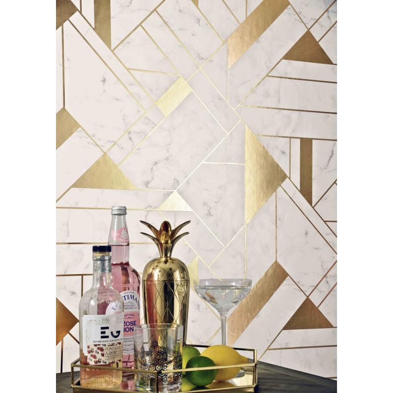 Islington Marble & Metallic Gold Geometric Wallpaper