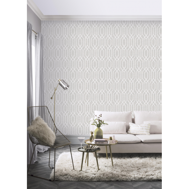 New York Geometric Light Grey Wallpaper