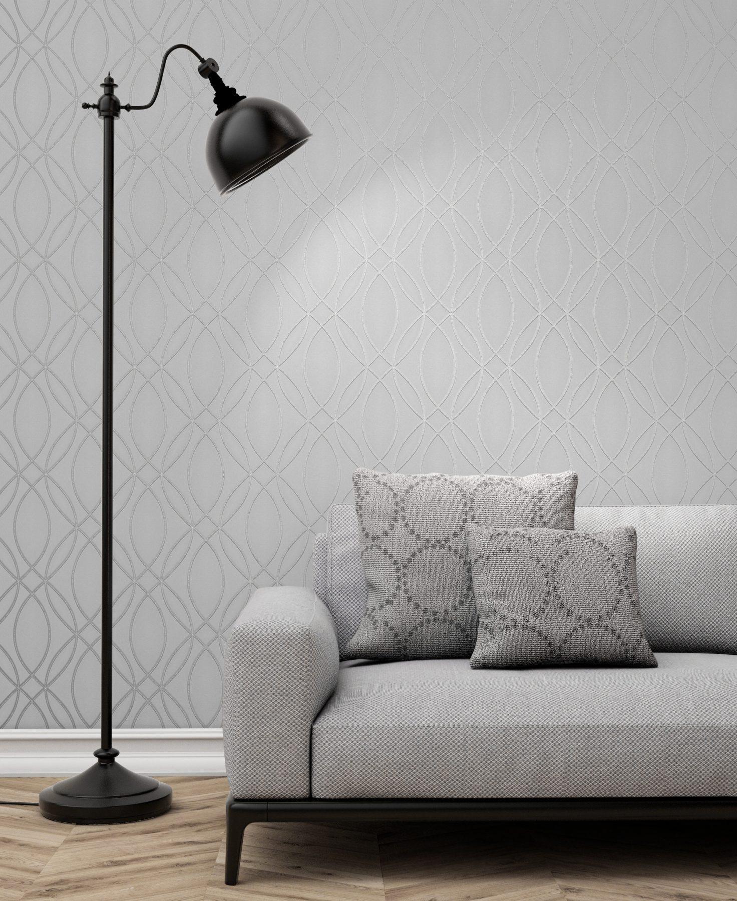 Ogee Silver Oval Geometric Wallpaper