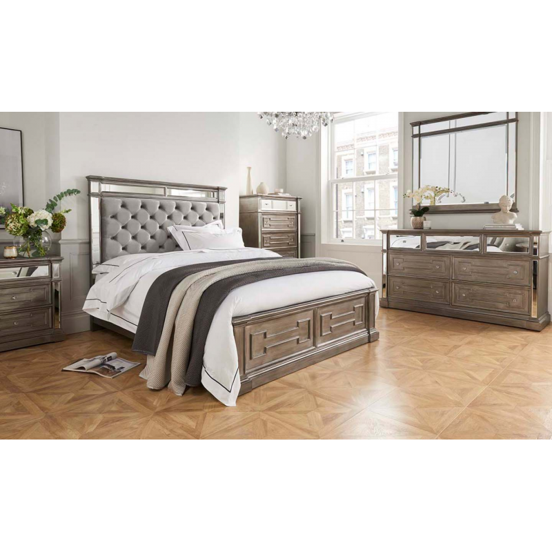 Ophelia Silver Mirror Bed 5'