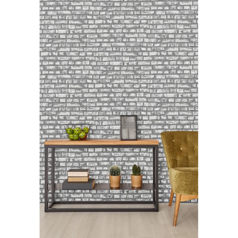 P&S Dark Grey Brick Wallpaper
