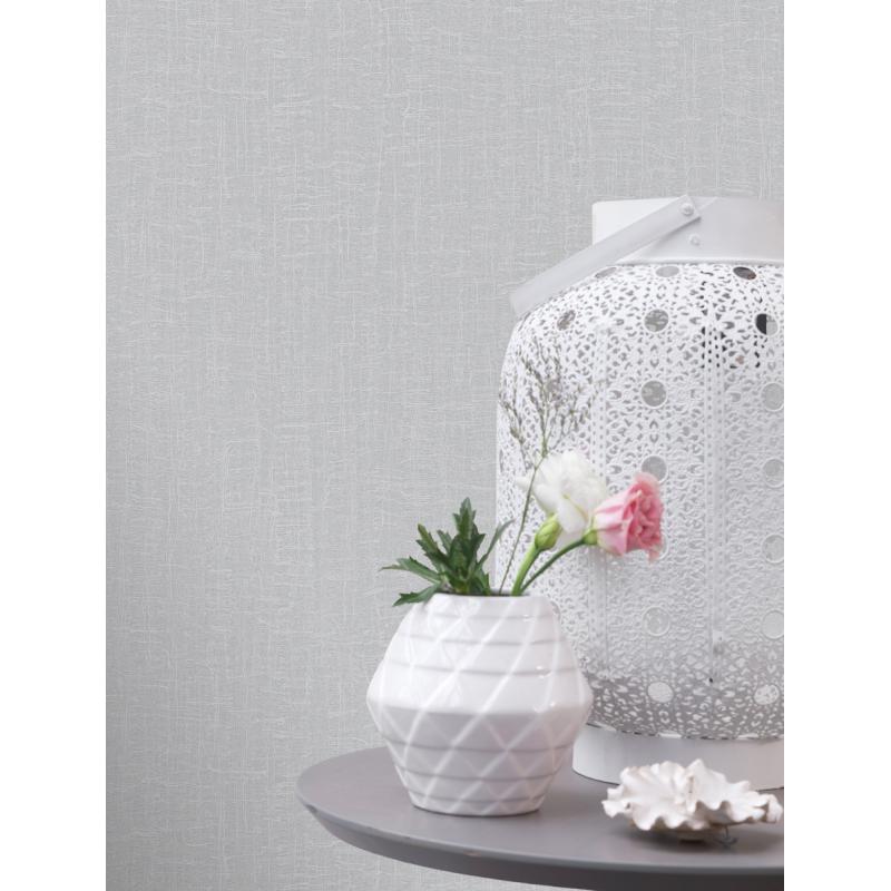 Sassari Plain Silver Wallpaper