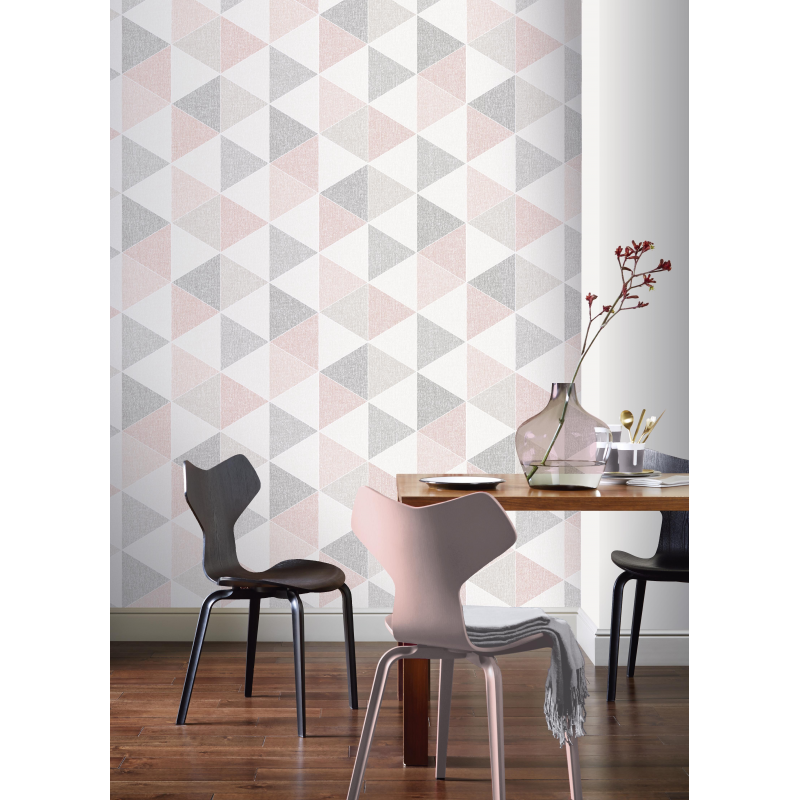 Scandi Pink Triangle Wallpaper