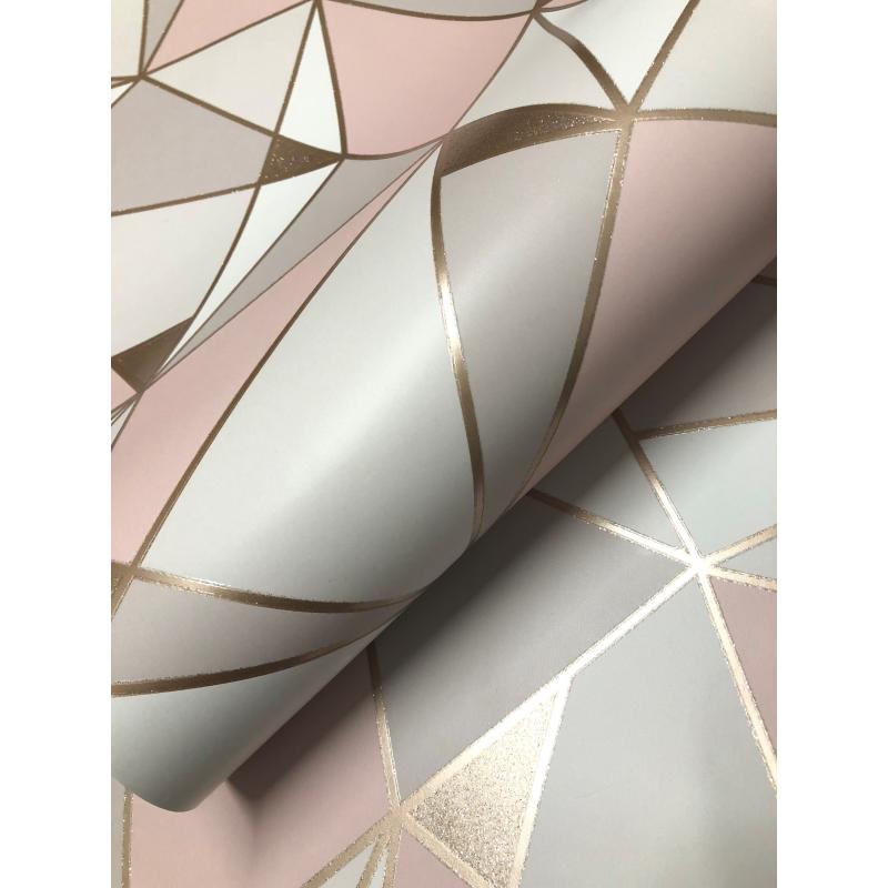Trance Blush Geometric Wallpaper