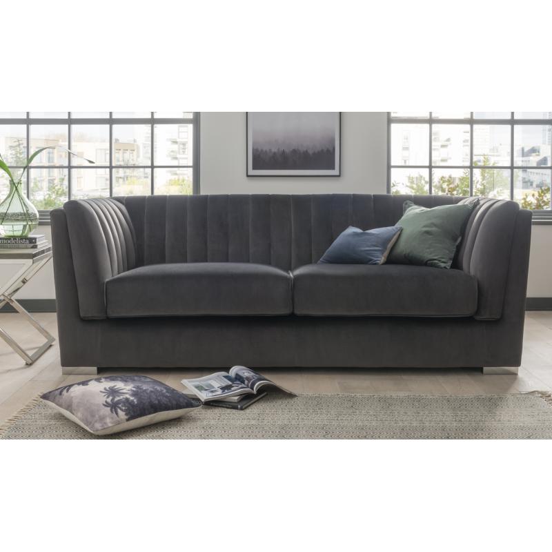 Upton Charcoal Velvet 3 Seater Sofa