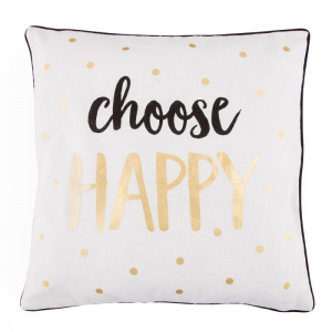 choose happy metallic monochrome cushion