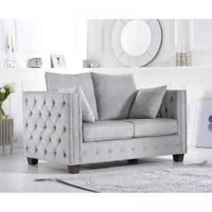 Ali Grey Plush Fabric 2 Seater Sofa