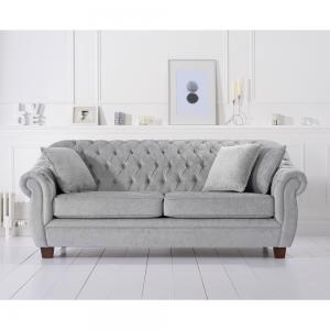 Liv Chesterfield Grey Plush 3 Seater Sofa