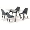 Tessa Fabric Chair Grey with Black Metal Legs - Set of 4