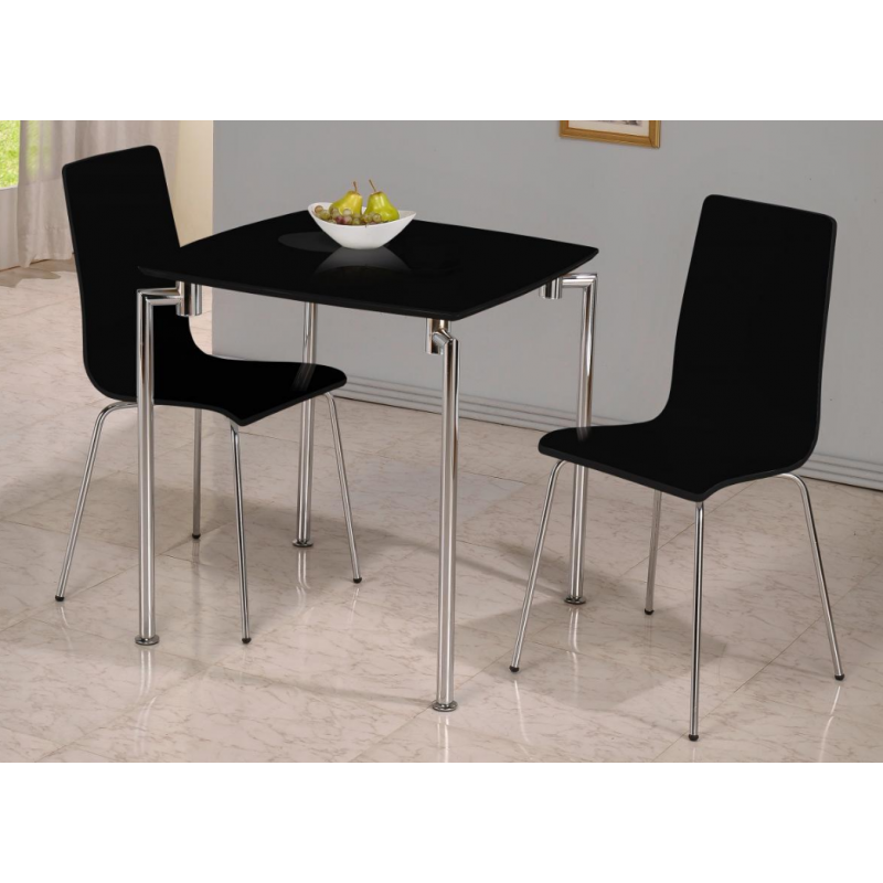 Fiji High Gloss Small Dining Set with 2 Black Chairs