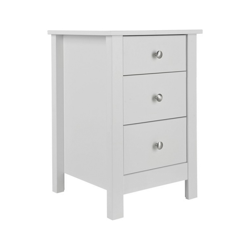 Florence 3 drawer bedside in White